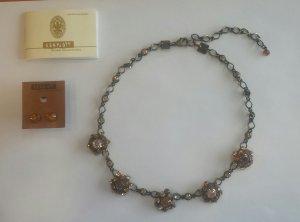 Set aus Halskette und Ohrsteckern mit braunen Kristallen von Konplott, NEU