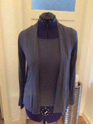 Repeat Twin set in jersey blu acciaio-grigio ardesia
