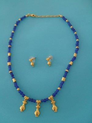Set aus Kette und Ohrringen, echtes Gold und Steinen aus Lapislazuli, NEU, hoher NP