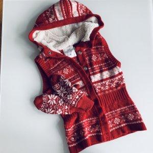 Set aus kuscheliger Strick Winter Weste mit Kapuze &Handschuhen rot weiß