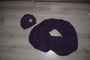 Tchibo / TCM Knitted Hat lilac-dark violet wool