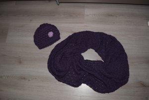 Chapeau en tricot violet-brun pourpre coton
