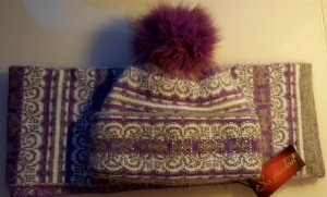 Bobble Hat multicolored angora wool