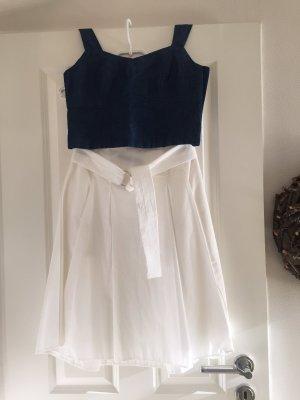 Zara Jupe mi-longue blanc cassé-bleu foncé coton