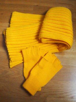Set aus Schal und Handschuhen in gelb