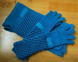 Set aus Schal und langen Handschuhe in türkis / petrol