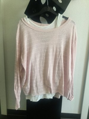 Set aus Top und Sweater, Schleife, rosa Made in Italy 36-40