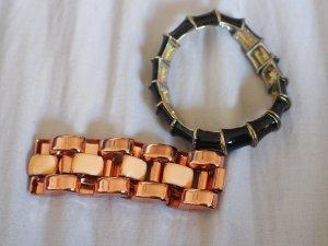 Set aus zwei Armbändern Rosegold & Schwarz