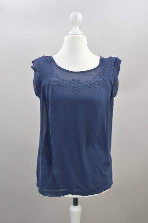 SET Bluse mit Schulterpolstern blau Größe 36