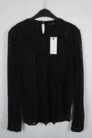 SET Bluse Strickbluse Gr. 36 schwarz mit schwarzer Spitze, transparent NEU mit Etikett (18/4/358)