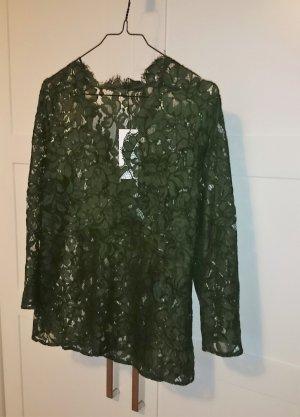 SET Bluse Top Spitze Spitzenbluse grün dunkelgrün oliv Gr. 36 NEU mit Etikett
