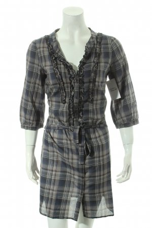 Set Blouse Dress grey-dark blue check pattern casual look