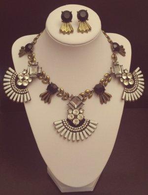 Set: bronze Ohrringe + Kette, schwarz weiß Steine, rund, oval Flügel, Zara