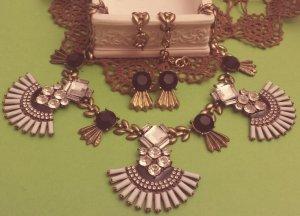 Set: bronze Ohrringe + Kette, schwarz weiß Steine, rund, oval Flügel, Zara, NEU