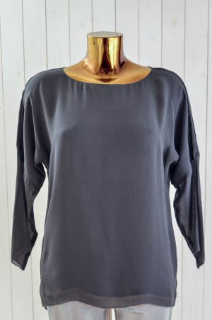 SET Damen Bluse Oberteil Grau Chiffon Viskose U-Ausschnitt 3/4-Arm Gr.36