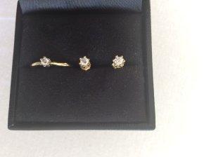Set Diamantring und Ohrstecker, echtgold 8 Karat, Diamanten 0,1 Karat
