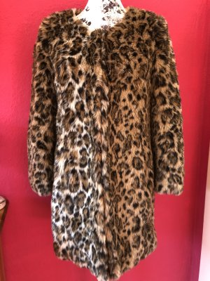 Set Fake Fur Mantel im Animal Print