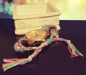 Set: gold Uhr + Armband, geflechteteter Stoff, pink grün lila, Glücksbringer
