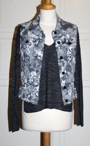 SET graues Langarmshirt mit Cutout / Schlitz + Weste mit Blumenprint