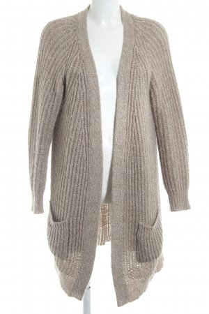 Set Coarse Knitted Jacket beige-gold-colored weave pattern wet-look