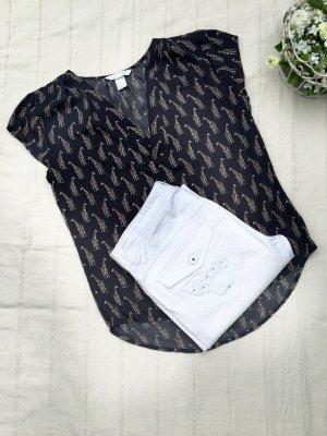 SET: H&M Bluse mit Giraffen, grau + H&M Jeans, weiß mit Glitzerapplikationen