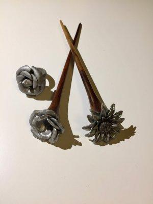 Set Haarnadeln Holz Lederblume Silber Ring
