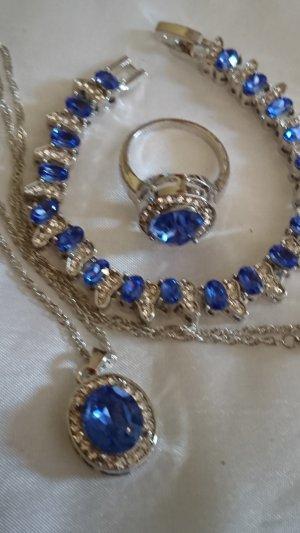 Colliers ras du cou argenté-bleu