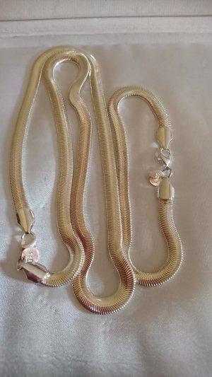 Set Halskette und Armband 925 ,flach 6 mm