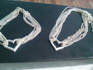 Set Halskette und Armband Gliederketten fein mit Herz Anhänger silber