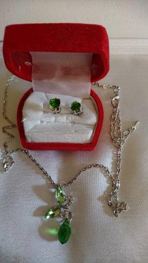 Set Halskette und Ohrringe grüne Steine