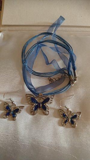Set Halskette und Ohrringe mit Schmetterling Anhänger