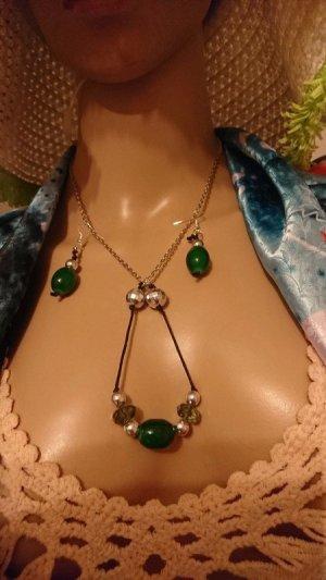 Set Halskette und Ohrringe Oliven Design aus Italien