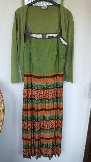 Hammerschmid Dress forest green-light orange cotton