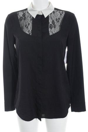 Set Hemd-Bluse schwarz-weiß Spitzen-Optik