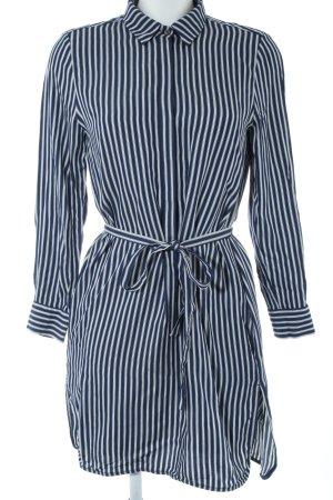 Set Hemdblusenkleid schwarz-weiß Streifenmuster Casual-Look