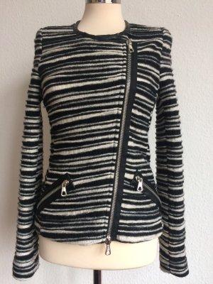 SET Jacke Blazer schwarz weiß Gr.38 100% Schurwolle Top Zustand!