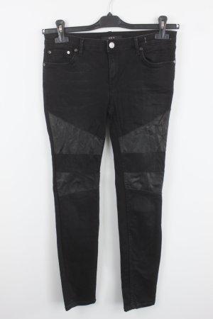 Set Jeans Gr. 36 schwarz Lederbesetz Biker Stil