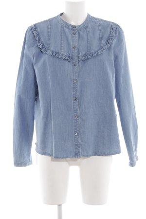 Set Jeansbluse blau Jeans-Optik
