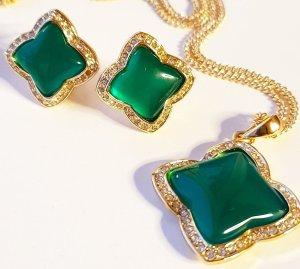 Oorbellen goud-groen