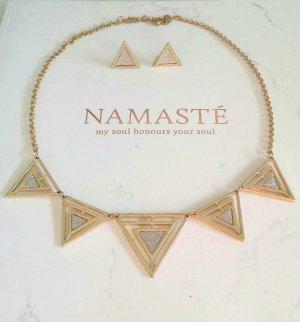 Set Kette und Ohrringe mit Dreiecken in gold&silber