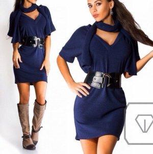 Set Kleid mit Gürtel und Schal Jersey one size