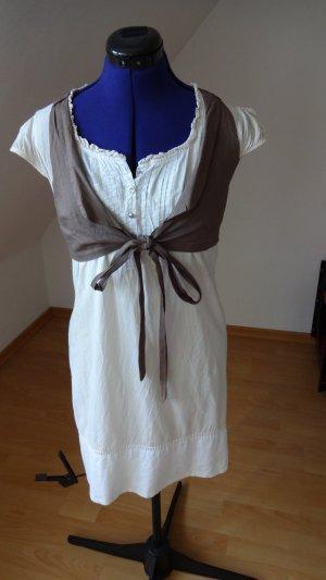Set Kleid mit Weste in creme und weiß