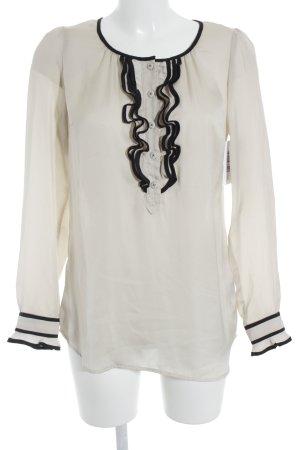 Set Langarm-Bluse creme-schwarz Elegant