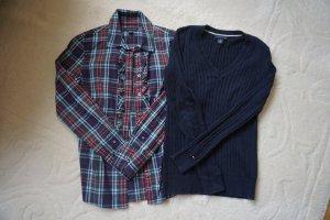 Set Langarmbluse mit Volant und V Ausschnitt Pullover mit Zopfmuster Tommy Hilfiger Gr. XS