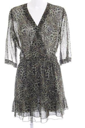 Set Jurk met lange mouwen khaki-zwart kleurvlekken patroon casual uitstraling