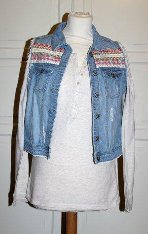SET Langarmshirt mit Knopfleiste + Jeansweste im Used-Look