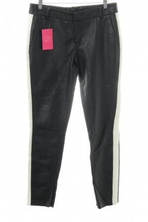 Set Leather Trousers black-natural white biker look