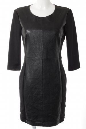 Set Lederkleid schwarz Elegant