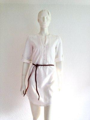 H&M Blusa de túnica blanco-marrón Lino