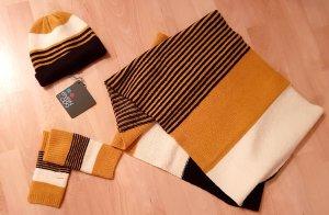 Set Loopschal + Mütze + Handschuhe  - gelb curry black weiß  - NEU!
